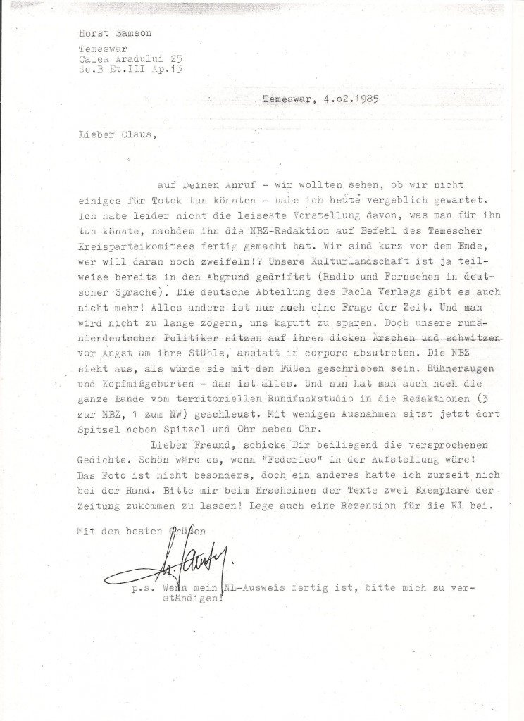 Brief v. Horst Samson 4.2.85