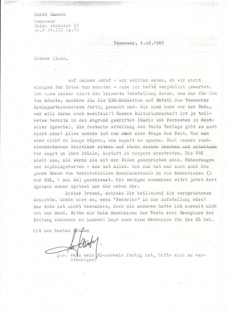 Brief v. Horst Samson 4.2.85