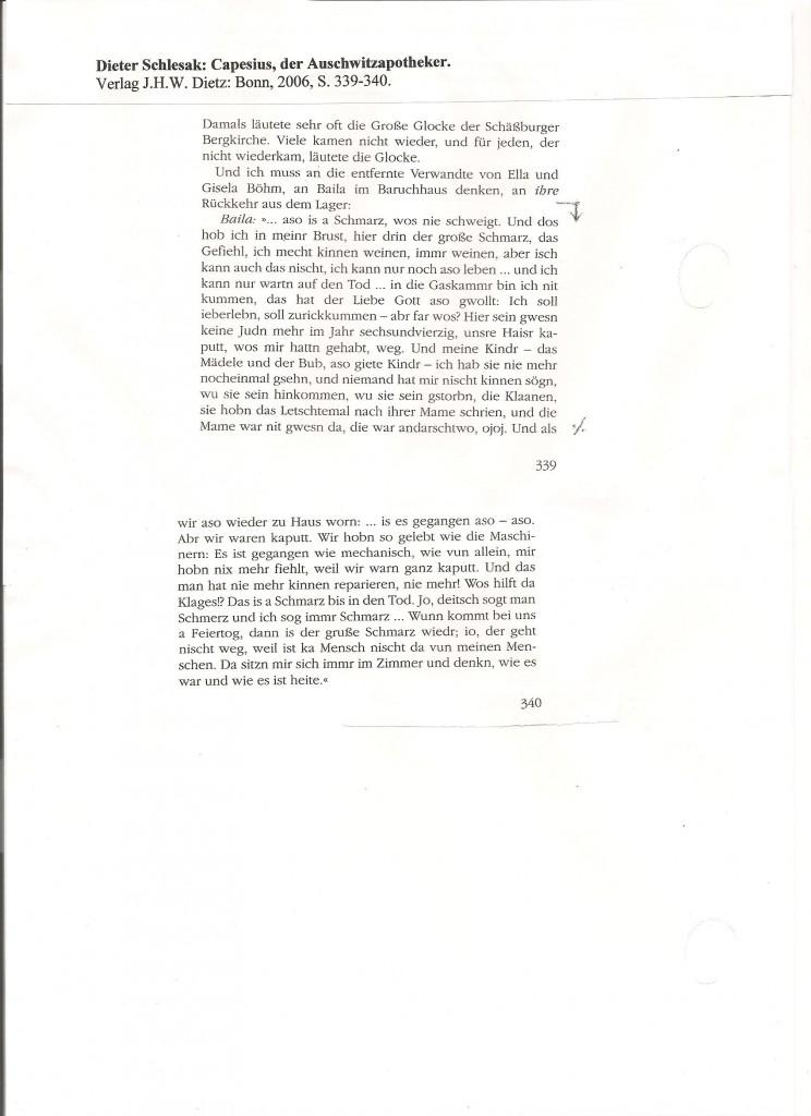 Aus: D. Schlesak: Capesius, der Auschwitzapotheker